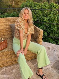 This Was the Last Colour We Expected to Take Off for Summer 2019 : Lime-Green Trend: The Unexpected Colour of 2019 Lime Green Outfits, Lime Green Pants, Green Pants Outfit, Mode Outfits, Fashion Outfits, Womens Fashion, Baby Blue Dresses, Summer Trends, Aesthetic Clothes