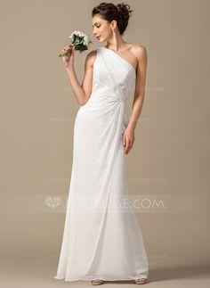 [£90.00] Sheath/Column One-Shoulder Floor-Length Chiffon Bridesmaid Dress With Ruffle