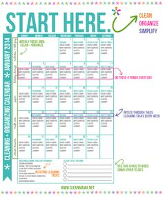 Start Here. Cleaning + Organizing Calendar Infographic via Clean Mama weekly cleaning chart set out in a month format. I know this is January but you get the idea - from Clean Mama - it seems very thorough just what I need to get myself into a routine Diy Cleaning Products, Cleaning Solutions, Cleaning Hacks, Deep Cleaning, Bathroom Cleaning Tips, Spring Cleaning Tips, Zone Cleaning, Cleaning Supplies, Calendar Organization