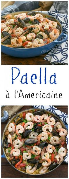 Paella a l'Americaine | Julia's twist on an extraordinary Spanish Classic with rice, saffron, shrimp, mussels and chorizo from thatskinnychickcanbake.com @lizzydo #SundaySupper #GalloFamily