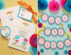 """""""lorax"""" inspired hand-illustrated and hand-glittered paper party goods!"""