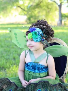 Peacock Feather Headband - Halloween Costume, Wedding Couture, Fascinator Photo Prop Sparkly Hairbow - Little Girls Child Girl Luxe Hair Bow by OnceUponATimeTuTus on Etsy https://www.etsy.com/listing/234607046/peacock-feather-headband-halloween