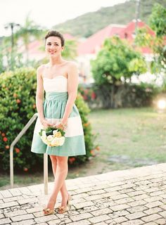 Casual green and white striped bridesmaid dress from LulaKate. Photo: Jen Huang