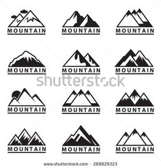 monochrome set of twelve mountain icons - stock vector