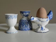 Set of 3 Egg Cups Blue and White one DELFT by locustgrovegirl, $24.00