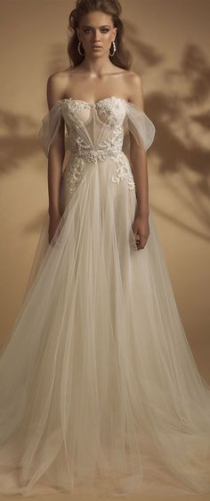 Off the shoulder heavy embellishment a line wedding dress #wedding #weddingdress #weddinggown