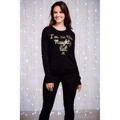 Zwarte dames kersttrui met in goudkleurige pailletten de tekst 'I'm on the naughty list'. Materiaal: 100% acryl. T Shirt, Tops, Fashion, Supreme T Shirt, Moda, Tee, La Mode, Shell Tops, Fasion