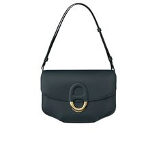 """Cherche Midi Hermes bag in ocean blue evercolor calfskin 9.8"""" x 6.3"""" x 1.8"""" Adjustable shoulder strap. 2 flat pockets. Gold plated hardware, leather covered """"Chaine d'Ancre"""" link closure"""