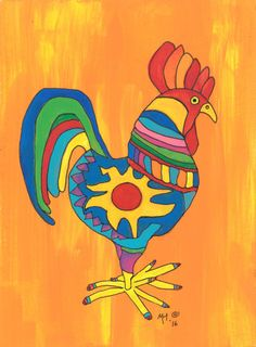 Rooster Print Mexican Folk ArtYear Of The Rooster Rooster