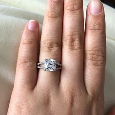2.5 Carats Cushion Cut Split Shank Engagement Ring / Promise Ring, Under USD150 | Etsy Split Shank Engagement Rings, Engagement Ring Cuts, Cushion Cut Engagement, Promise Rings For Her, Man Made Diamonds, Diamond Simulant, Cushion Cut Diamonds, Or Rose, Just For You