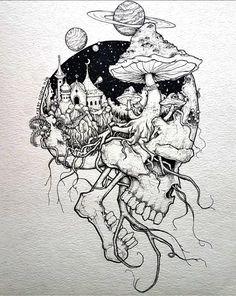 Pin by rock neptune on to do çizimler, çizim fikirleri, sana Trippy Drawings, Dark Art Drawings, Tattoo Design Drawings, Pencil Art Drawings, Art Drawings Sketches, Cool Drawings, Tattoo Sketches, Unique Drawings, Sketch Drawing