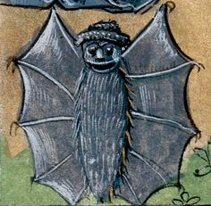Bat in a hat, book of hours, Picardy 15th century (Abbeville, Bibliothèque municipale, ms. 16, fol. 31v)