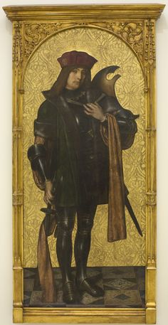 Museu Nacional d'Art de Catalunya | Ayne Bru - Saint Candidus, 1502-07, Oil, stucco reliefs and gold leaf on wood, 182 x 88 x 7 cm, from the monastery of Sant Cugat del Vallès