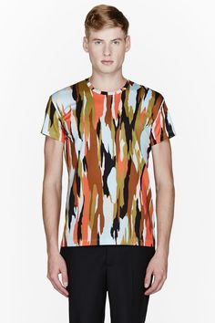 JONATHAN SAUNDERS Red multicolor abstract print t-shirt