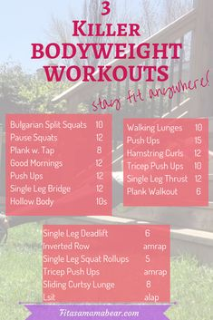 Bodyweight Workouts You Can Do Anywhere - Fit as a Mama Bear - Bodyweight Workouts You Can Do Anywhere – Fit as a Mama Bear Fullbody exercise programs. Bodyweight workouts you can do anywhere. Outdoor Workouts, Easy Workouts, At Home Workouts, Bodyweight Program, Workout Programs, Cardio, Workout Plan For Women, Workout Plans, Exercise Plans