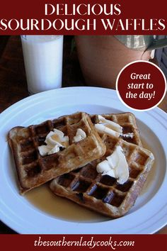 Easy recipe using your sourdough starter for waffles. Great for breakfast or serve as dessert with fruit and ice cream. Recipe For Sourdough Biscuits, Sourdough Cinnamon Rolls, Sourdough Recipes, Breakfast Dishes, Breakfast Recipes, Breakfast Dessert, Recipe Using, Waffles, Southern