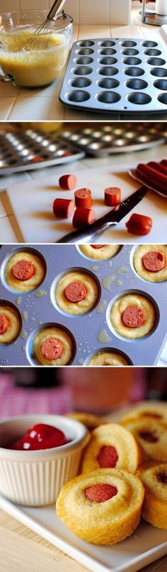Mini Corn Dog Muffins   24 Awesome Muffin Tin Recipes. I don't normally eat this sort of food, but every once in a while you just NEED a corn dog. Nom nom.