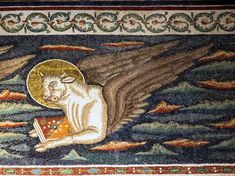 Basilica di Sant'Apollinare in Classe. Il mosaico del registro superiore dell'arco trionfale. Il vitello - Il simbolo dell'Evangelista Luca. 535-549