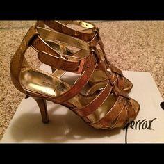 Jacqueline Ferrar Bronze High Heel Size 7 New Jacqueline Ferrar Bronze High Heel Size 7 used once. Jacqueline Ferrar Shoes Heels
