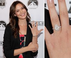 Odette Yustman: Dave Annable proposed to wife Odette Yustman with a diamond set in a platinum pavé band in Style Weddings Engagement Ring Pictures, Diamond Engagement Rings, Celebrity Wedding Rings, Celebrity Style, Engagement Celebration, Teardrop Ring, Pear Shaped Diamond, Diamond Are A Girls Best Friend, Dave Annable