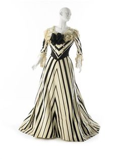 Afternoon Dress, House of Worth: ca. 1900, French, ribbed withs with satin stripes, lengths joined to create chevron stripes, silk chiffon, satin, net lace, tulle.