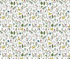 Hand Drawn Wildflowers fabric by valerinick_ on Spoonflower - custom fabric