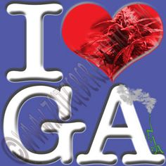"Slow Southern Style.  Help make Georgia greener. Up close ""I [heart] GA"" actually reads ""I love Ganja"".  http://www.cafepress.com/thenaughtynook/10430217"