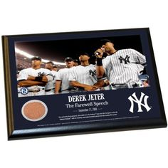DEREK JETER MOMENTSYANKEE STADIUM FAREWELL SPEECH 8 Inch X 10 Inch MLB AUTHENTIC YANKEE STADIUM GAME USED DIRT PLAQUE MLB Major League Baseball AUTHENTICATED *** See this great product. (Note:Amazon affiliate link)