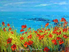 """Купить """"Сидя на Красивом Холме"""" авторская картина маслом на холсте - голубой, море, маки"""