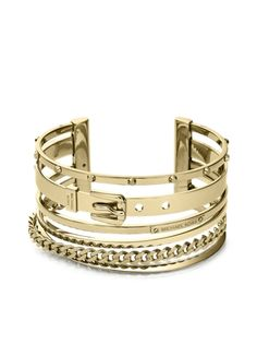 Michael Kors Heritage Gold Tone Mixed-Shape Cuff