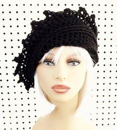 Black Crochet Hat Womens Hat Crochet Beanie Hat Black Hat Crochet Winter Hat…