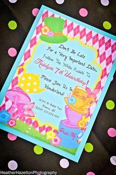 WONDERLAND Birthday Party- ALICE INVITATION- MAD HATTER Invite