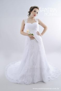 Vestido de Noiva Evasê em Linda Renda | Santrix Noivas