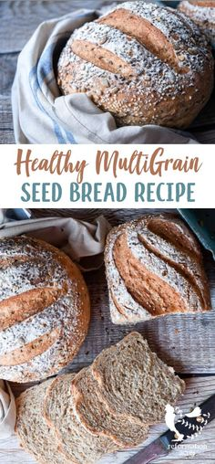 SEED BREAD RECIPE: A healthy multigrain seed bread made with whole grains like wheat rye oats buckwheat and quinoa and tasty pumpkin sunflower flax and sesame seeds. Healthy Bread Recipes, Real Food Recipes, Healthy Rolls, Easy Recipes, How To Make Bread, Bread Making, The Best, Snacks, Bread Machine Multigrain Bread Recipe
