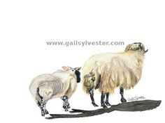 """SERIES: Farm Animals TITLE: """"After the feed"""" MEDIUM: Watercolours"""