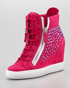 High-Top Crystal-Panel Wedge Sneaker, Fuchsia by Giuseppe Zanotti at Neiman Marcus. High Top Wedge Sneakers, Pink Sneakers, Wedge Shoes, Sneakers Fashion, Fashion Shoes, Heeled Boots, Shoe Boots, Giuseppe Zanotti Heels, Emo Outfits