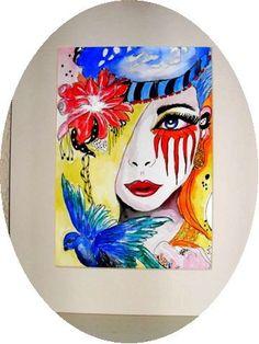 ART ARTWORK original handmade acrylic abstract by darinecraftyshop, £30.00