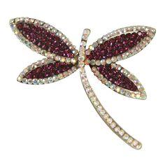 Dragonfly Purple/Aurora Borealis Crystal Costume Brooch