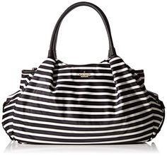 Kate Spade New York Classic Nylon Stevie Baby-Bag, Schwarz - Black/Clotted Cream - Größe: