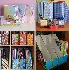 Manualidades para organizar la zona de estudio: cajas recicladas