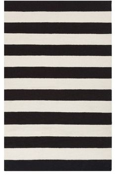 Classic black and white stripes - always in style for home decorating - Black Lake Stripe Dhurrie Rug