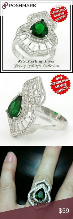 "Sterling Silver Platinum Emerald C Zirconia Ring LUXURY-LIFESTYLE Collection By Samuelle & Co. is Designed and Manufactured in the United States.   This beautiful ring contains 3.50ctw of Emerald & 0.75ctw AAA Grade Australian Cz's which are flawlessly set in .925 Sterling Silver with a Platinum Overlay.   Total weight for this Ring is 5.8 grams.   The top of the ring measures 1/""x3/4"".   Size: 7  Brand new in Gift Box Samuelle & Co. Jewelry Rings"