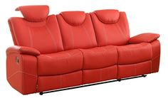Homelegance Talbot Double Reclining Sofa in Red Leather  Browse Now      $989.31    Designed with your bold design choices in mind, the contemporary Talbot Collection will provide your family and friends with a comfortable place to spend their quality time. Offered in red or black bonded leather match, the race car inspired bucket seat is fine tuned by contrast double stitching. Dimensions:  86.00 in x 38.50 in x 44.50 in  Some assembly may be required. Please see product detail..