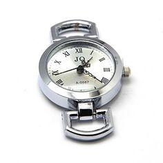 Uhr- Rohling mit Batterie, weiß oder bronze, Ziffernblatt, 48 x 29mm