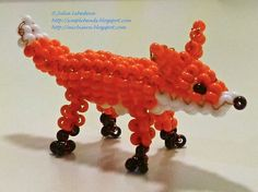 3D beaded fox - Beading for the very beginners: Beaded animals