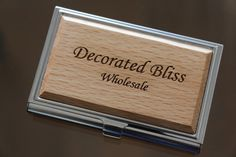 Custom Engraved Wood Business Card Holder by EverythingDecorated