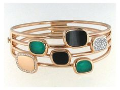 Check out this gorgeous Roberto Coin 18K Rose Gold Bangle with Diamonds, Black Jade and Agate!!