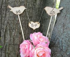 Rustic Bird Cake Topper with Personalized Heart