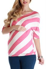 Pink White Striped Maternity