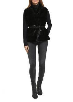 Black Reversible Mink Fur Gilet With Cashmere Backing Fur Gilet, Fiery Red, Mink Fur, Shop Now, Cashmere, Black Jeans, Leather Jacket, Clothing, Pants
